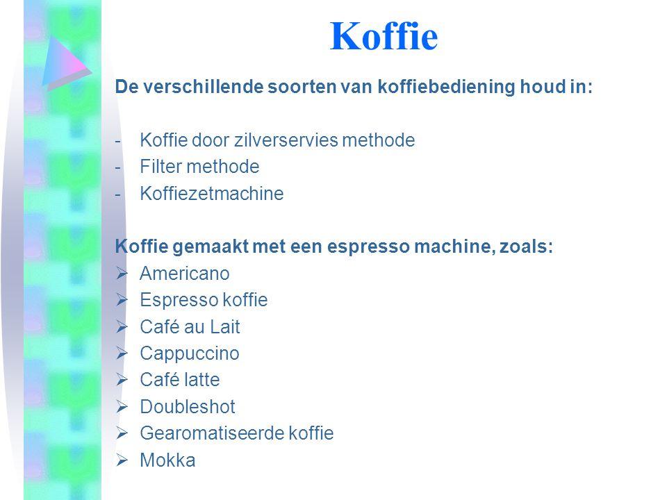 Koffie De verschillende soorten van koffiebediening houd in: