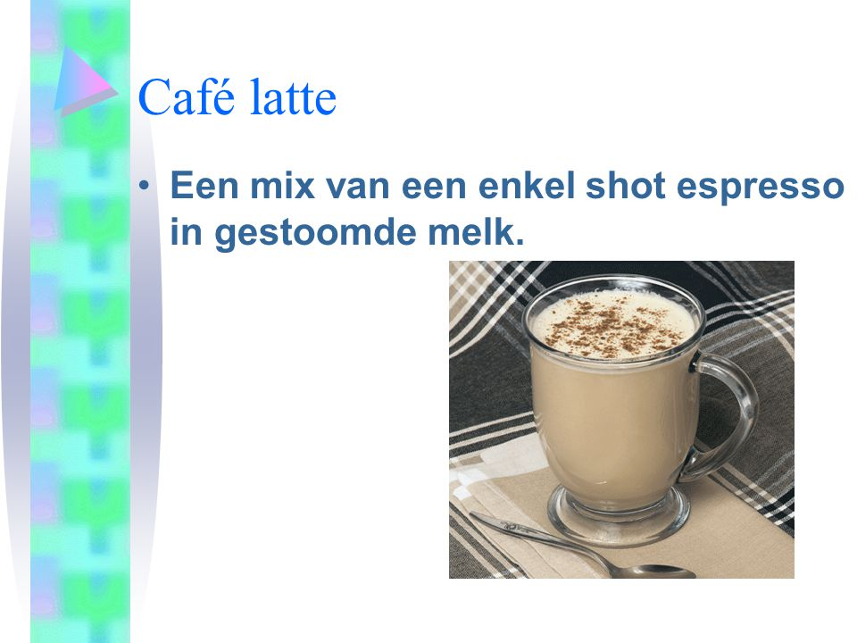 Café latte Een mix van een enkel shot espresso in gestoomde melk.