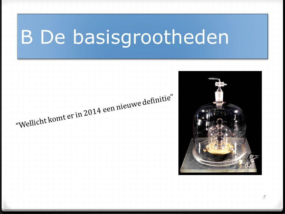 B De basisgrootheden Wellicht komt er in 2014 een nieuwe definitie