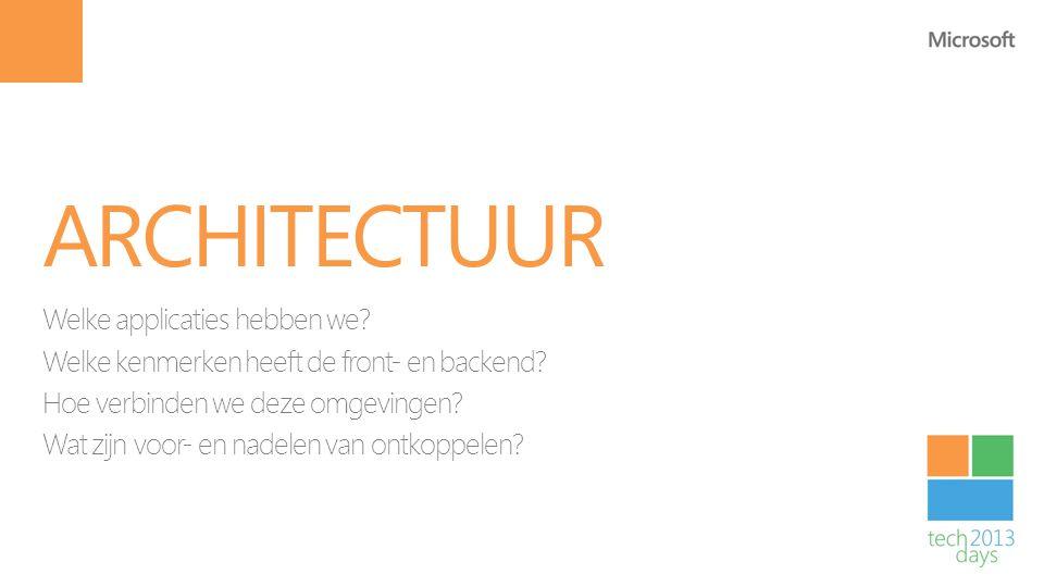 Architectuur Welke applicaties hebben we