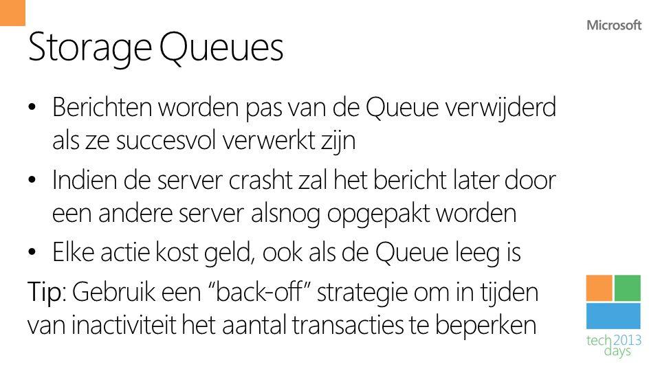 Storage Queues Berichten worden pas van de Queue verwijderd als ze succesvol verwerkt zijn.