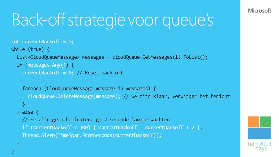 Back-off strategie voor queue's