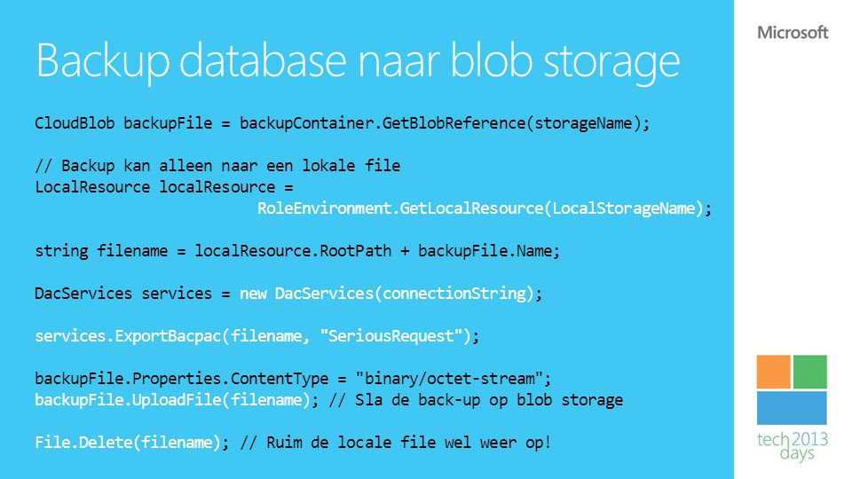 Backup database naar blob storage