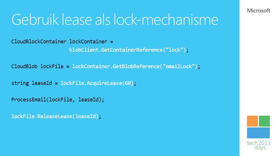 Gebruik lease als lock-mechanisme