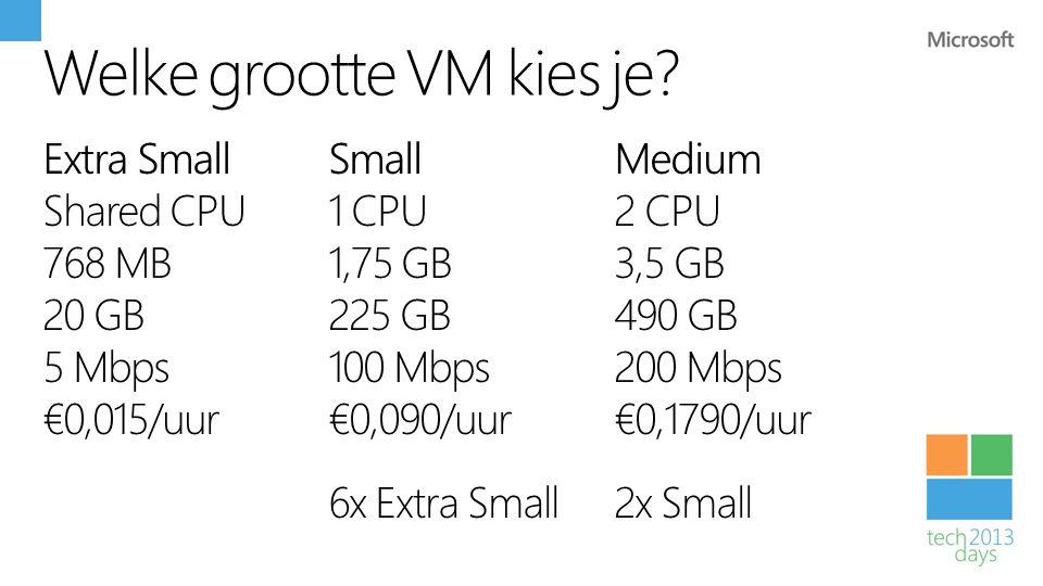 Welke grootte VM kies je
