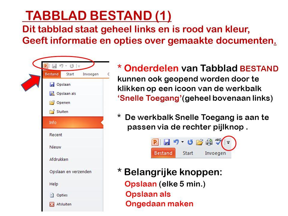 TABBLAD BESTAND (1) Dit tabblad staat geheel links en is rood van kleur, Geeft informatie en opties over gemaakte documenten.