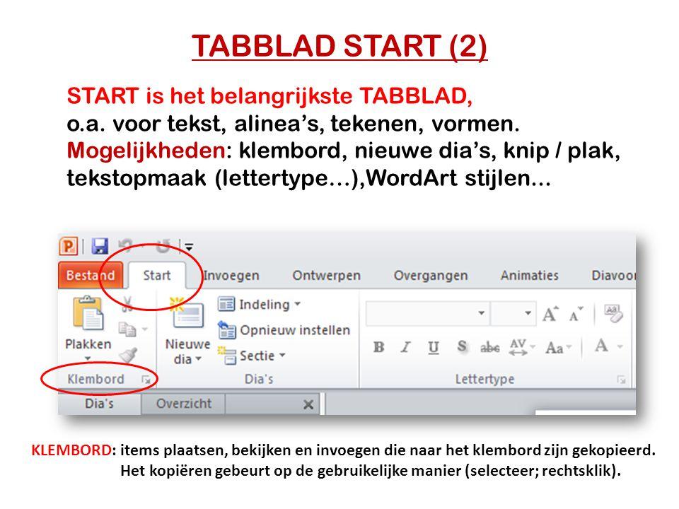 TABBLAD START (2) START is het belangrijkste TABBLAD,