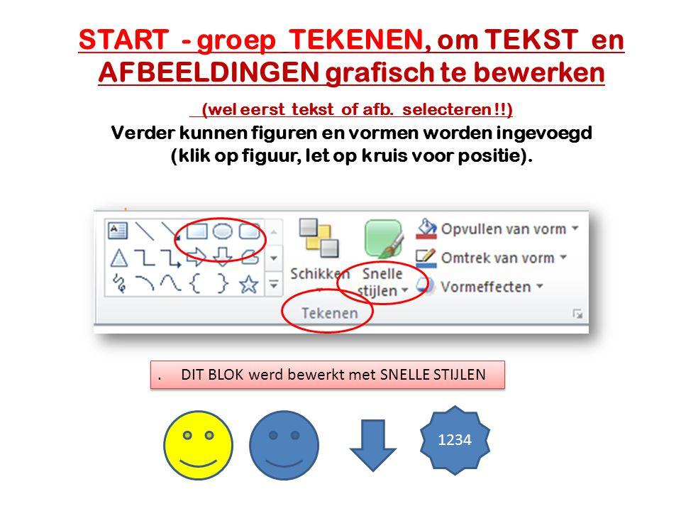 START - groep TEKENEN, om TEKST en AFBEELDINGEN grafisch te bewerken (wel eerst tekst of afb. selecteren !!) Verder kunnen figuren en vormen worden ingevoegd (klik op figuur, let op kruis voor positie).