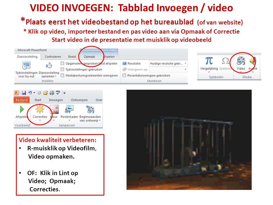 VIDEO INVOEGEN: Tabblad Invoegen / video