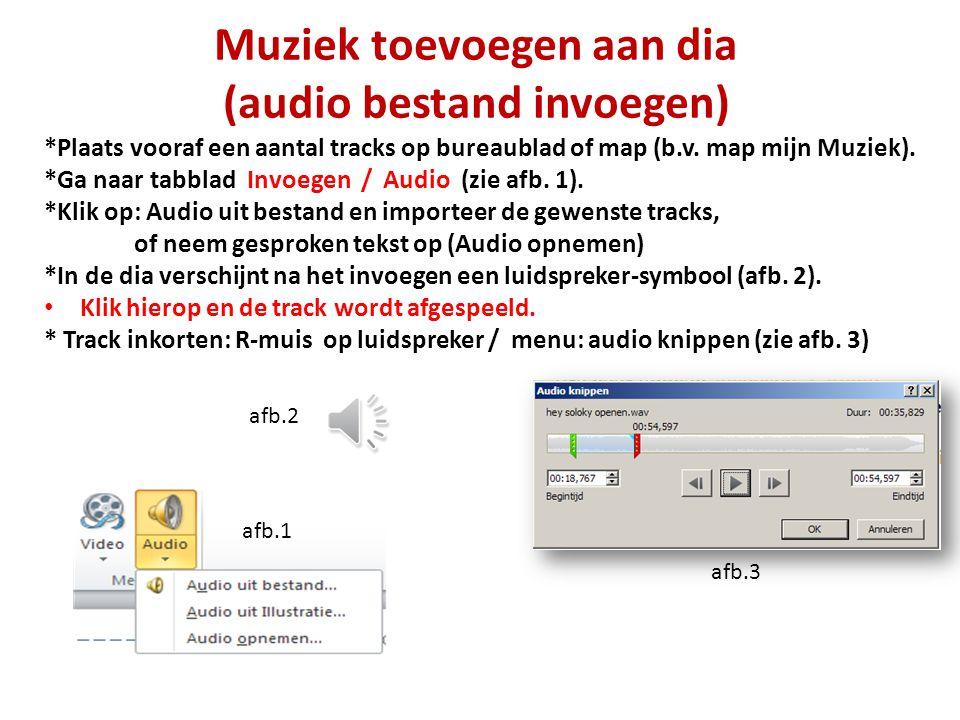 Muziek toevoegen aan dia (audio bestand invoegen)