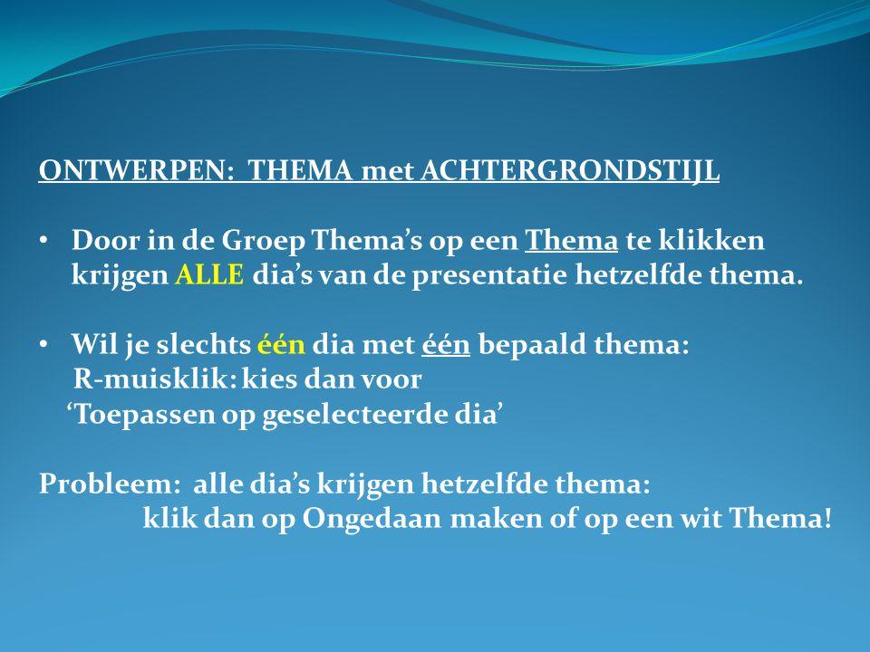 ONTWERPEN: THEMA met ACHTERGRONDSTIJL
