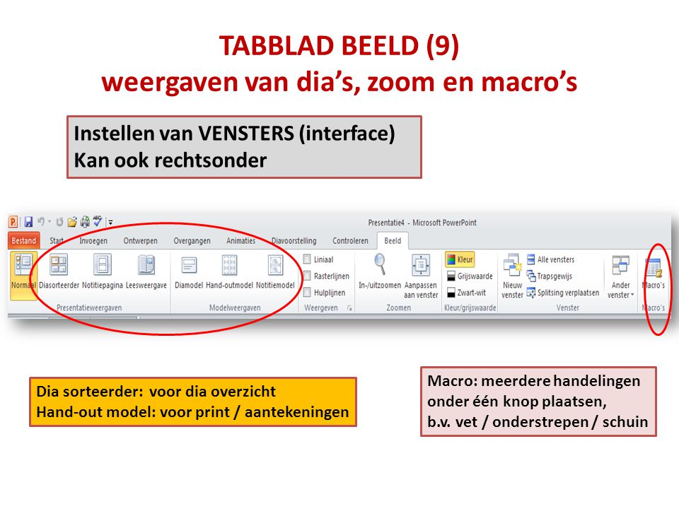 TABBLAD BEELD (9) weergaven van dia's, zoom en macro's