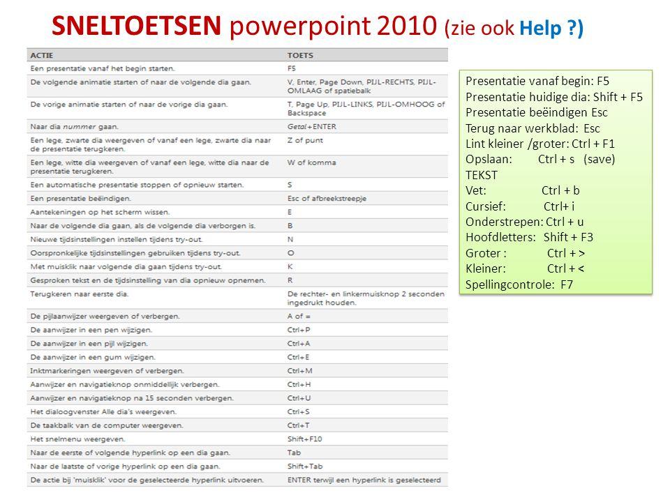 SNELTOETSEN powerpoint 2010 (zie ook Help )