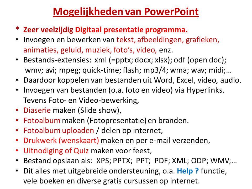 Mogelijkheden van PowerPoint