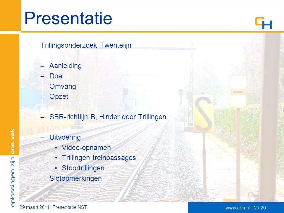 Presentatie Trillingsonderzoek Twentelijn Aanleiding Doel Omvang Opzet