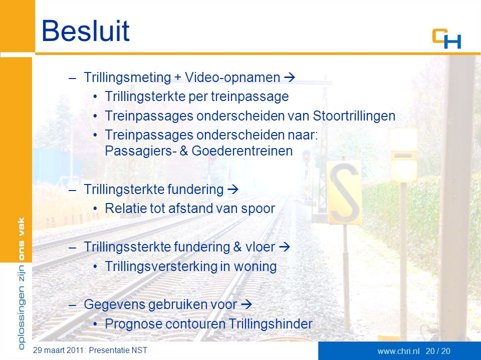 Besluit Trillingsmeting + Video-opnamen 