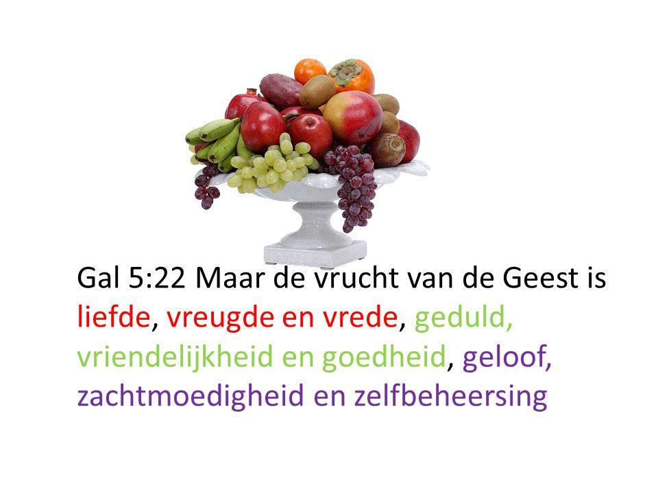 Gal 5:22 Maar de vrucht van de Geest is liefde, vreugde en vrede, geduld, vriendelijkheid en goedheid, geloof, zachtmoedigheid en zelfbeheersing