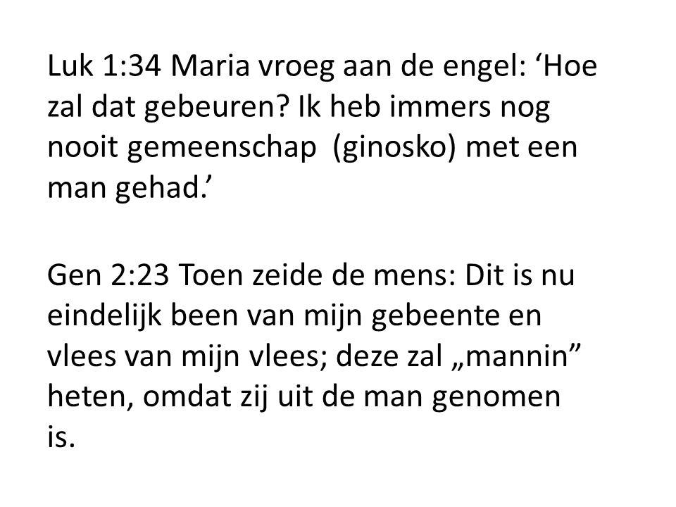 Luk 1:34 Maria vroeg aan de engel: 'Hoe zal dat gebeuren