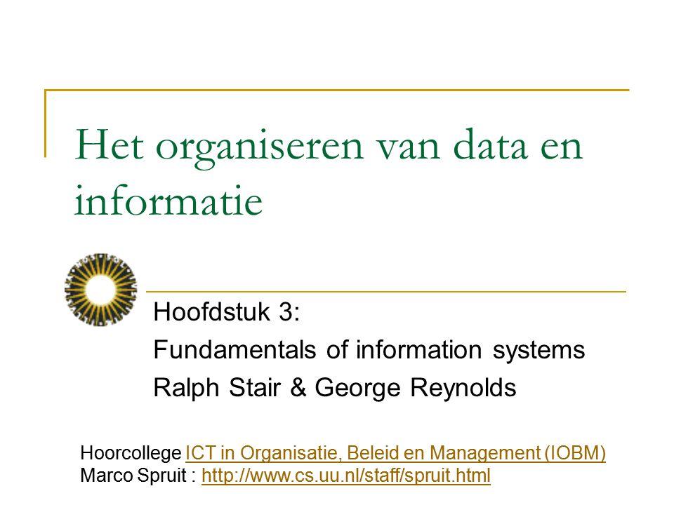 Het organiseren van data en informatie