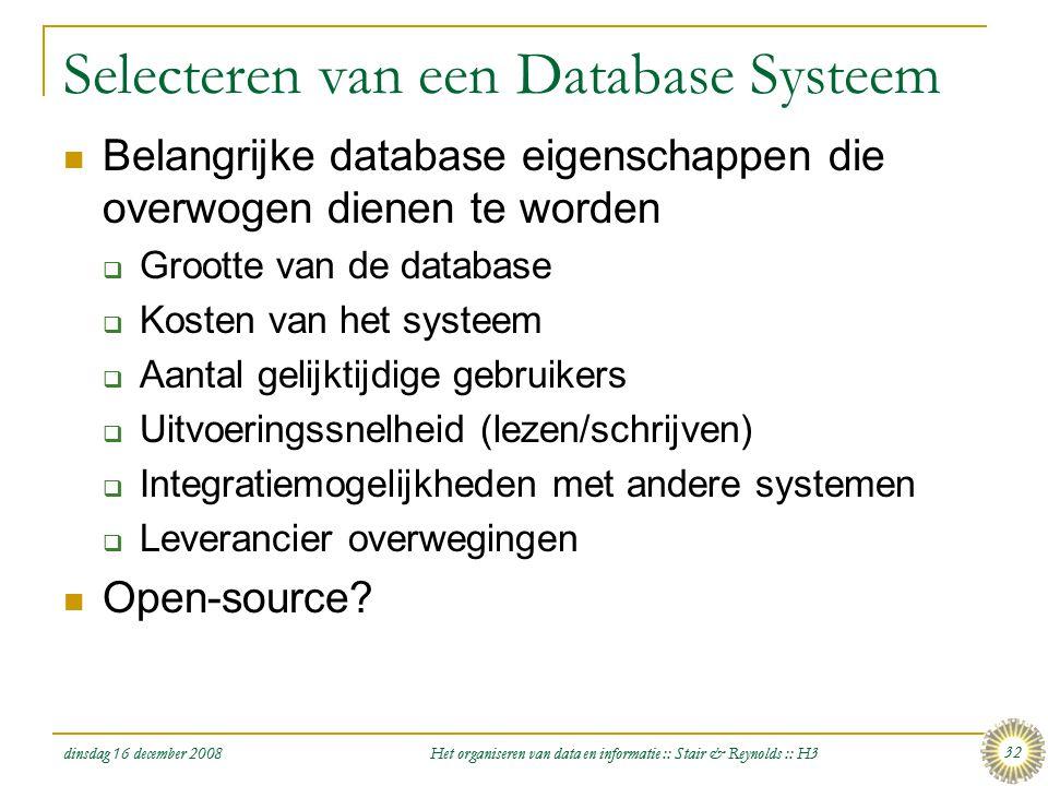 Selecteren van een Database Systeem