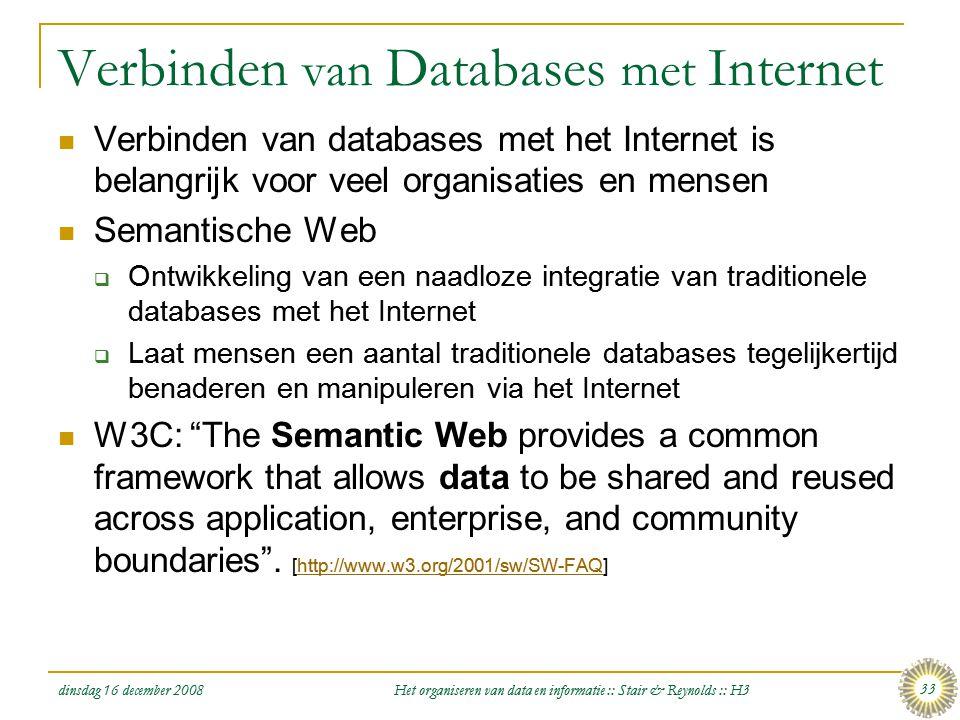 Verbinden van Databases met Internet