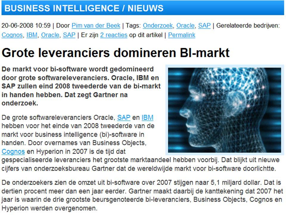 Wie zijn de Business Intelligence leveranciers in 2008