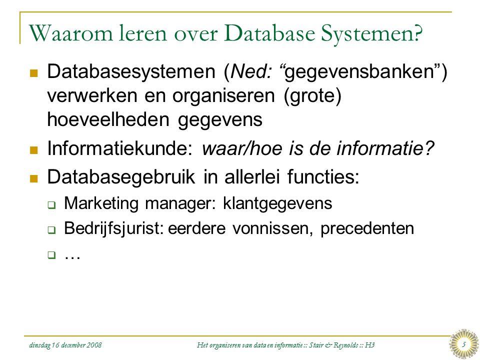 Waarom leren over Database Systemen