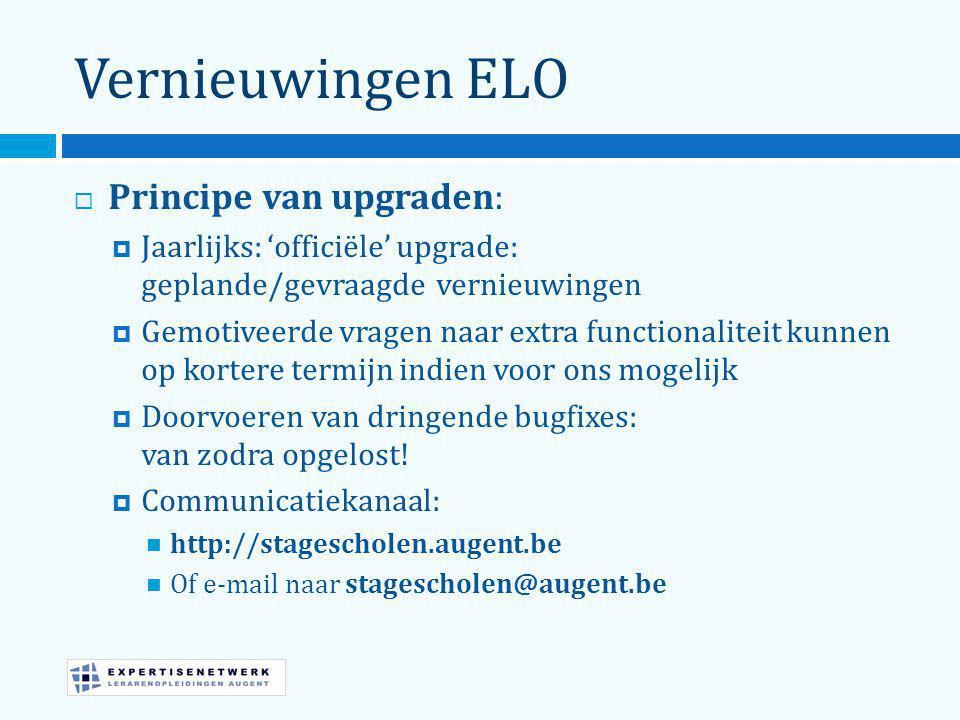 Vernieuwingen ELO Principe van upgraden: