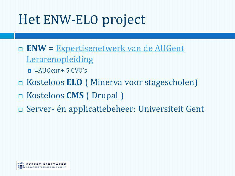 Het ENW-ELO project ENW = Expertisenetwerk van de AUGent Lerarenopleiding. =AUGent + 5 CVO's. Kosteloos ELO ( Minerva voor stagescholen)