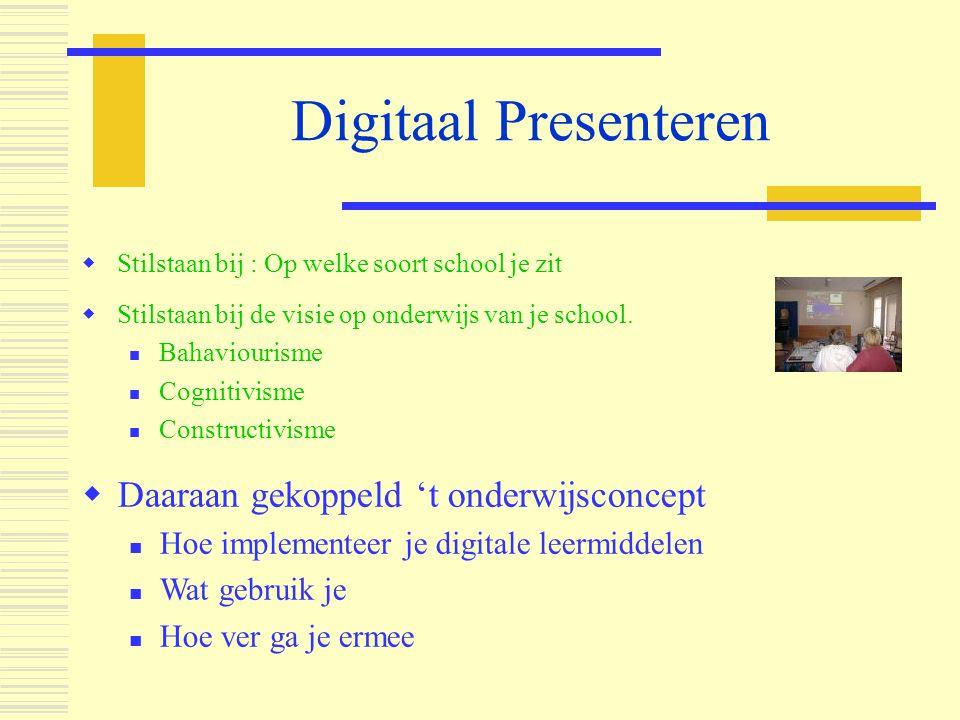 Digitaal Presenteren Daaraan gekoppeld 't onderwijsconcept