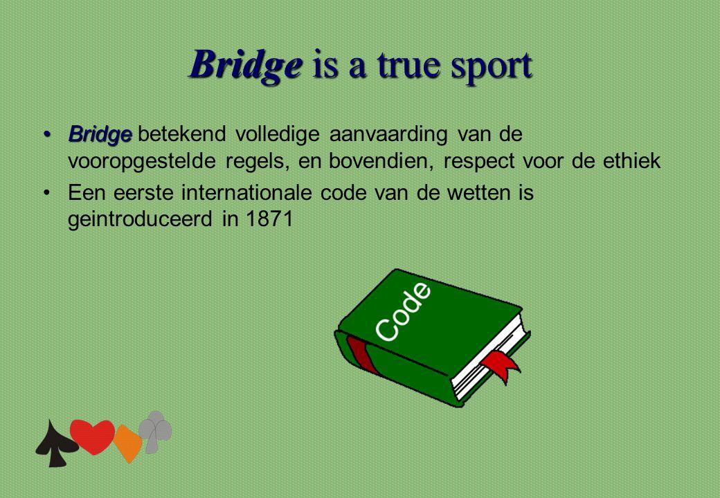 Bridge is a true sport Bridge betekend volledige aanvaarding van de vooropgestelde regels, en bovendien, respect voor de ethiek.