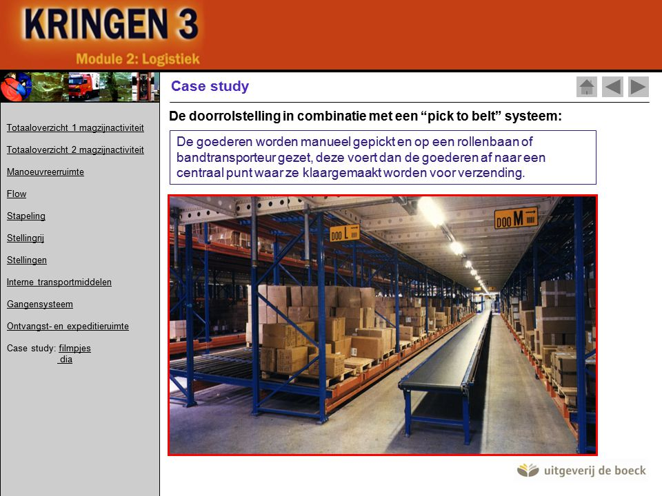 Case study De doorrolstelling in combinatie met een pick to belt systeem: Totaaloverzicht 1 magzijnactiviteit.