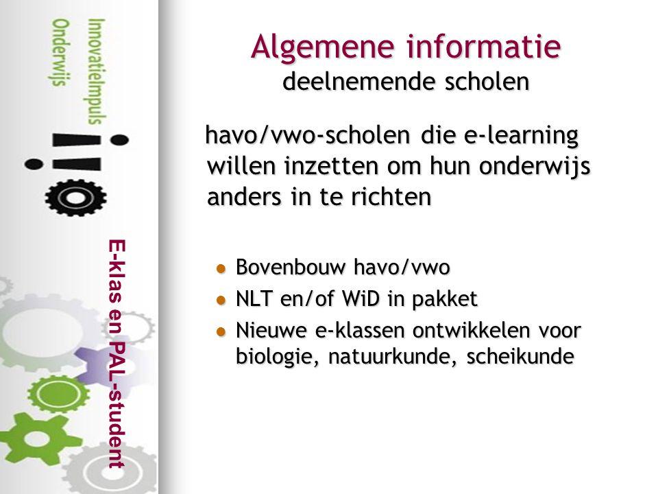 Algemene informatie deelnemende scholen