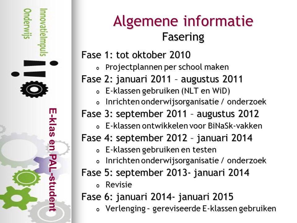 Algemene informatie Fasering