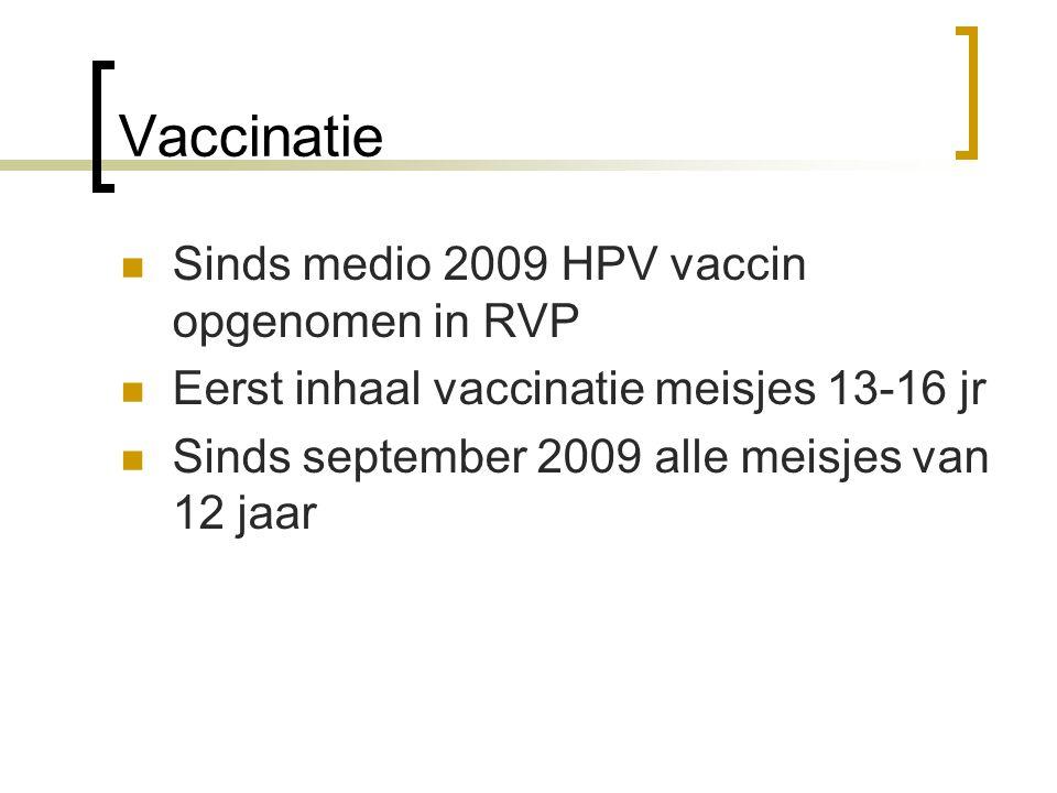 Vaccinatie Sinds medio 2009 HPV vaccin opgenomen in RVP