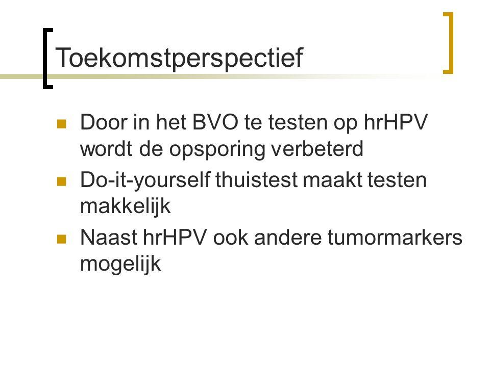 Toekomstperspectief Door in het BVO te testen op hrHPV wordt de opsporing verbeterd. Do-it-yourself thuistest maakt testen makkelijk.