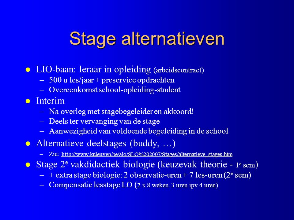 Stage alternatieven LIO-baan: leraar in opleiding (arbeidscontract)