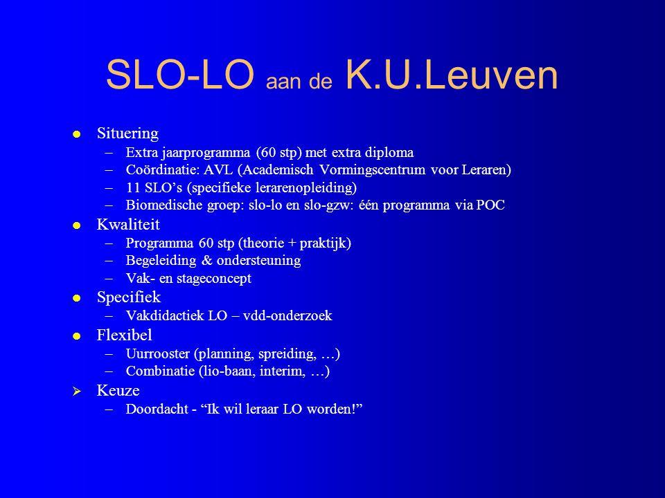 SLO-LO aan de K.U.Leuven Situering Kwaliteit Specifiek Flexibel Keuze