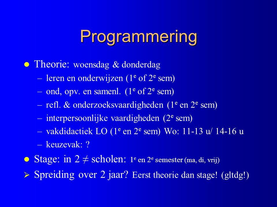 Programmering Theorie: woensdag & donderdag
