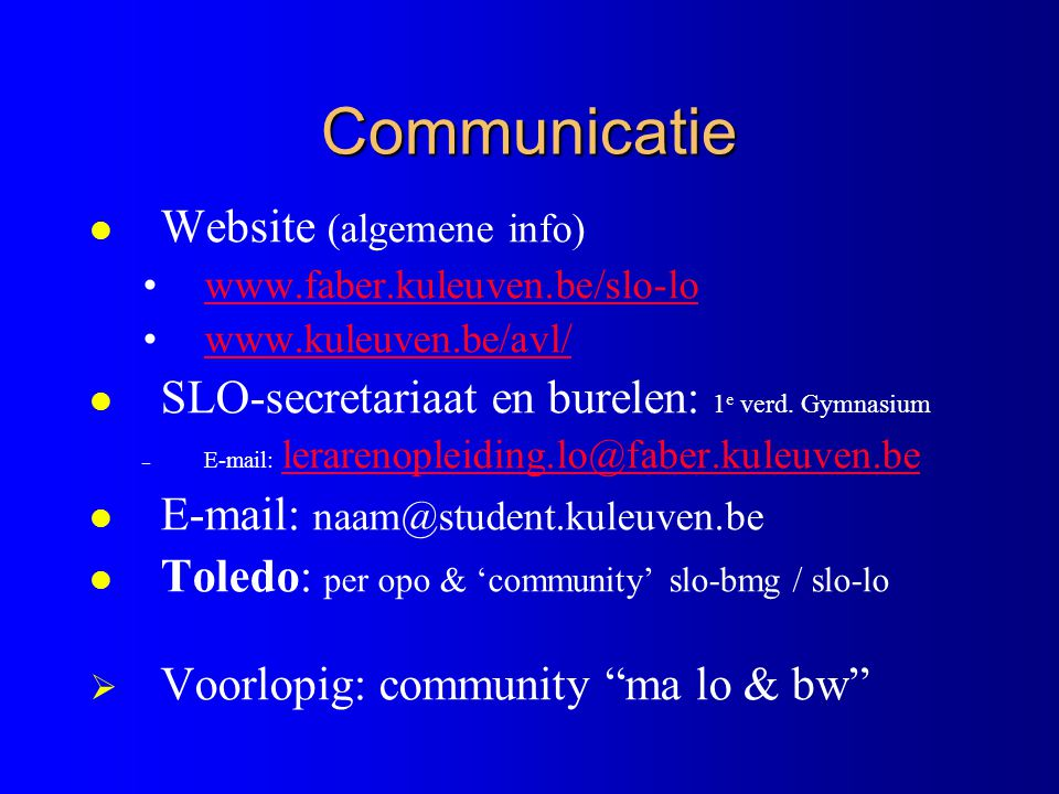 Communicatie Website (algemene info)