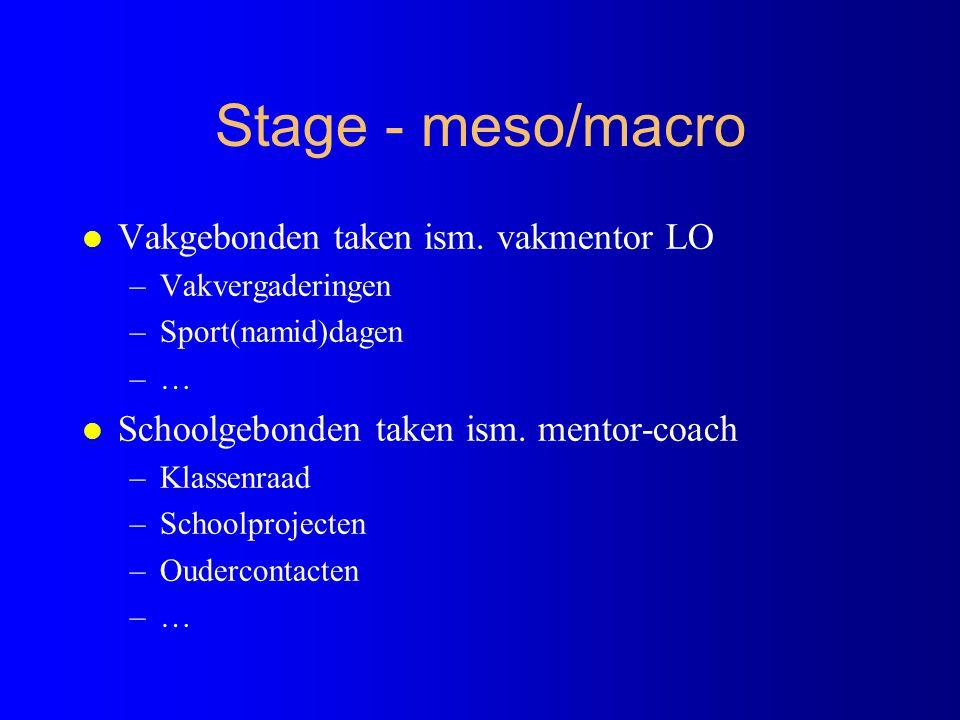 Stage - meso/macro Vakgebonden taken ism. vakmentor LO