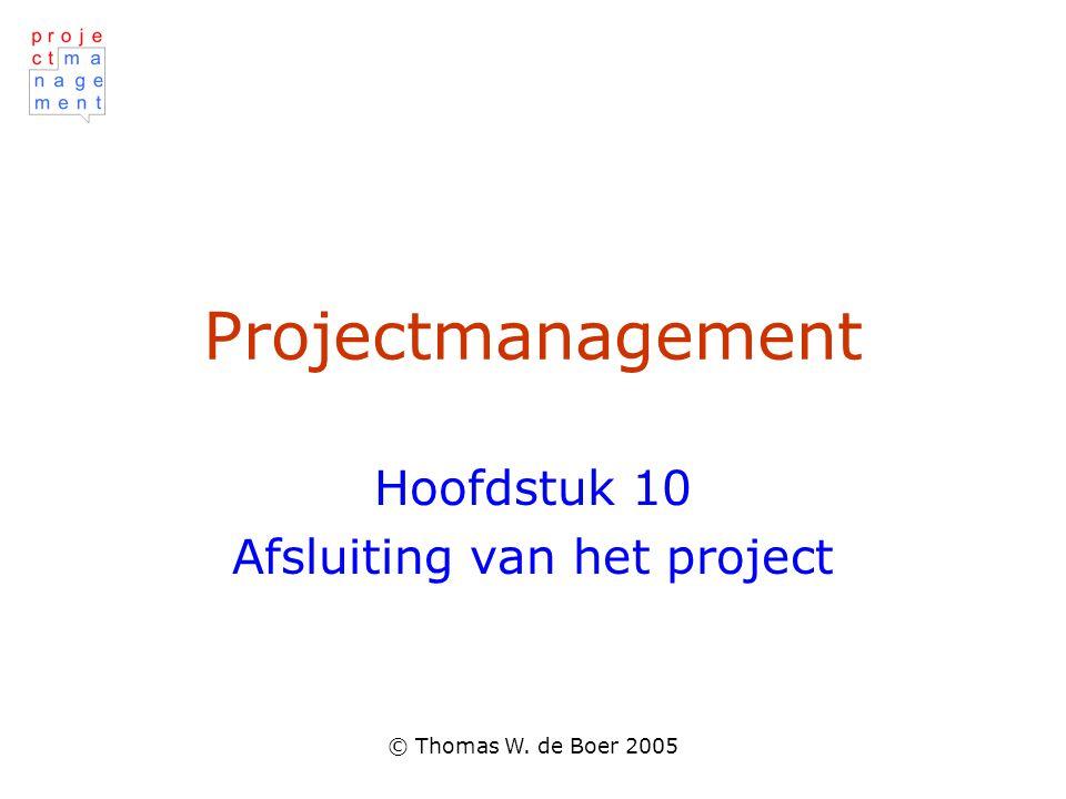 Hoofdstuk 10 Afsluiting van het project