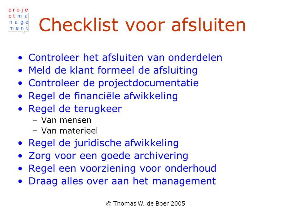 Checklist voor afsluiten