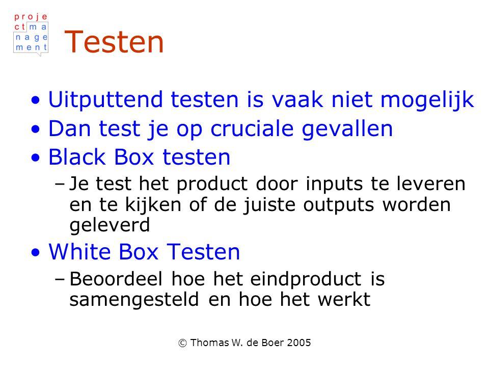 Testen Uitputtend testen is vaak niet mogelijk