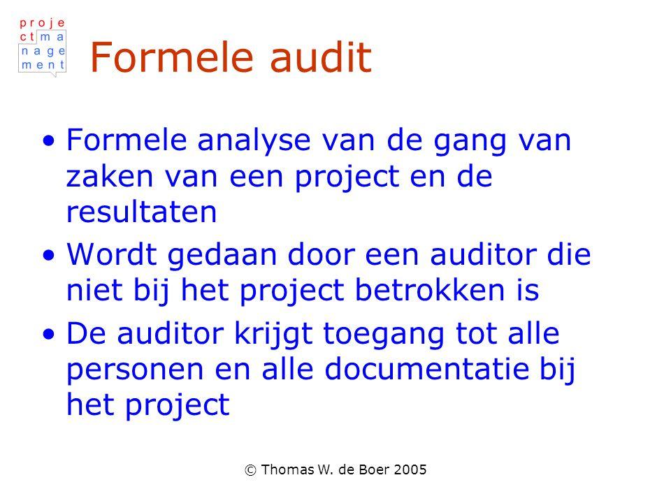 Formele audit Formele analyse van de gang van zaken van een project en de resultaten.