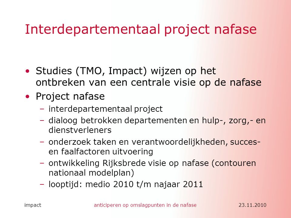 Interdepartementaal project nafase