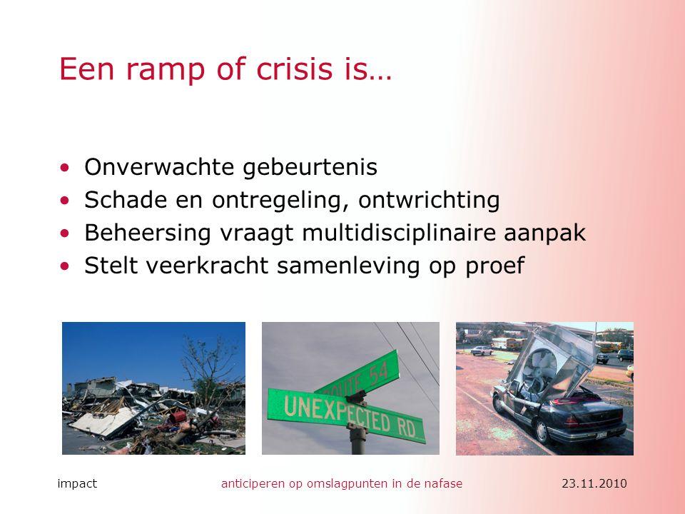 Een ramp of crisis is… Onverwachte gebeurtenis