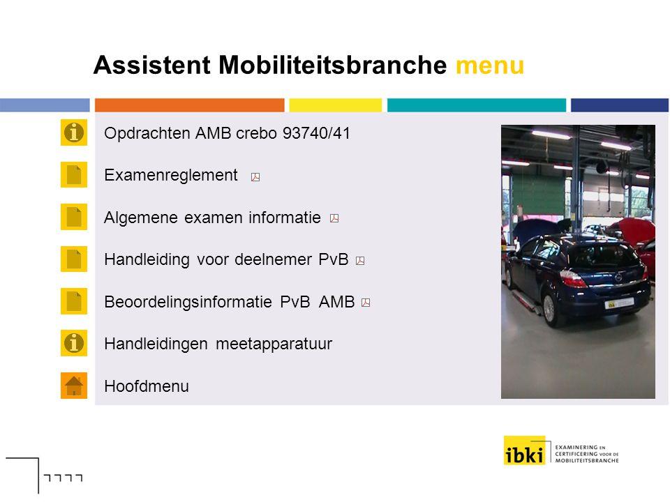 Assistent Mobiliteitsbranche menu