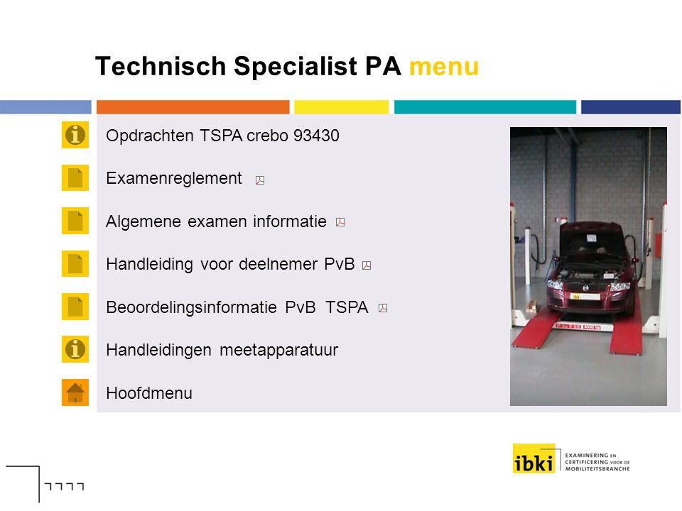 Technisch Specialist PA menu