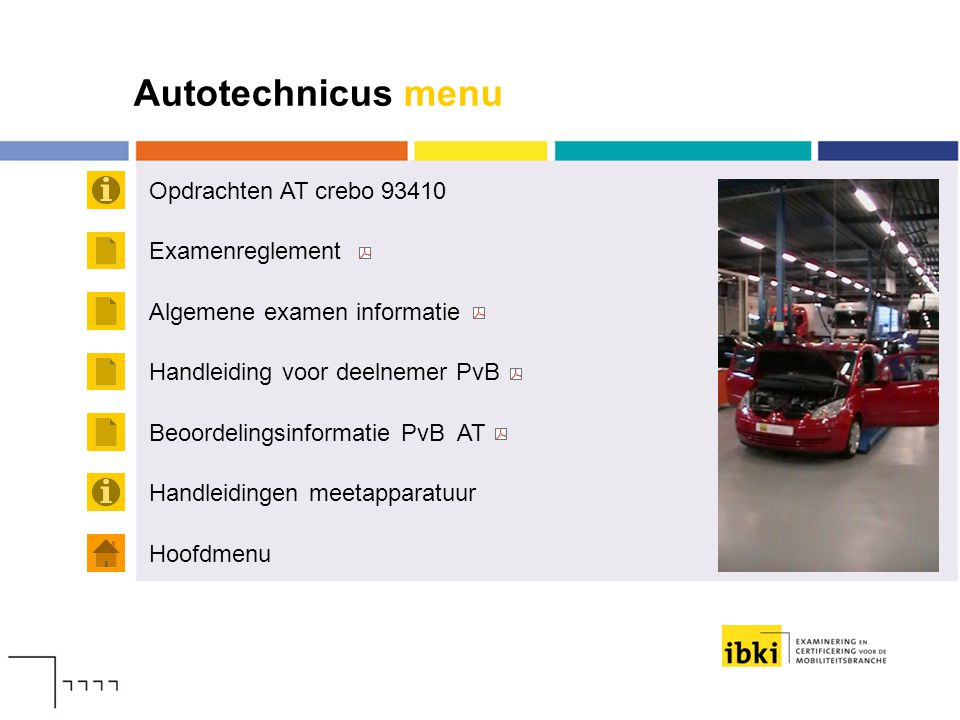 Autotechnicus menu Opdrachten AT crebo 93410 Examenreglement